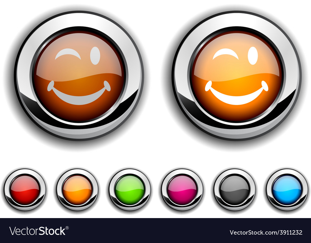 Smiley button vector | Price: 1 Credit (USD $1)