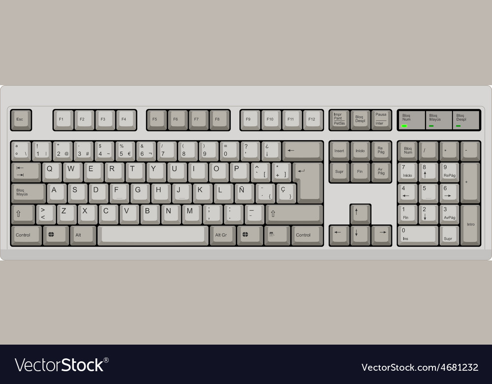 Spanish qwerty spanish sp computer grey keyboard vector | Price: 1 Credit (USD $1)