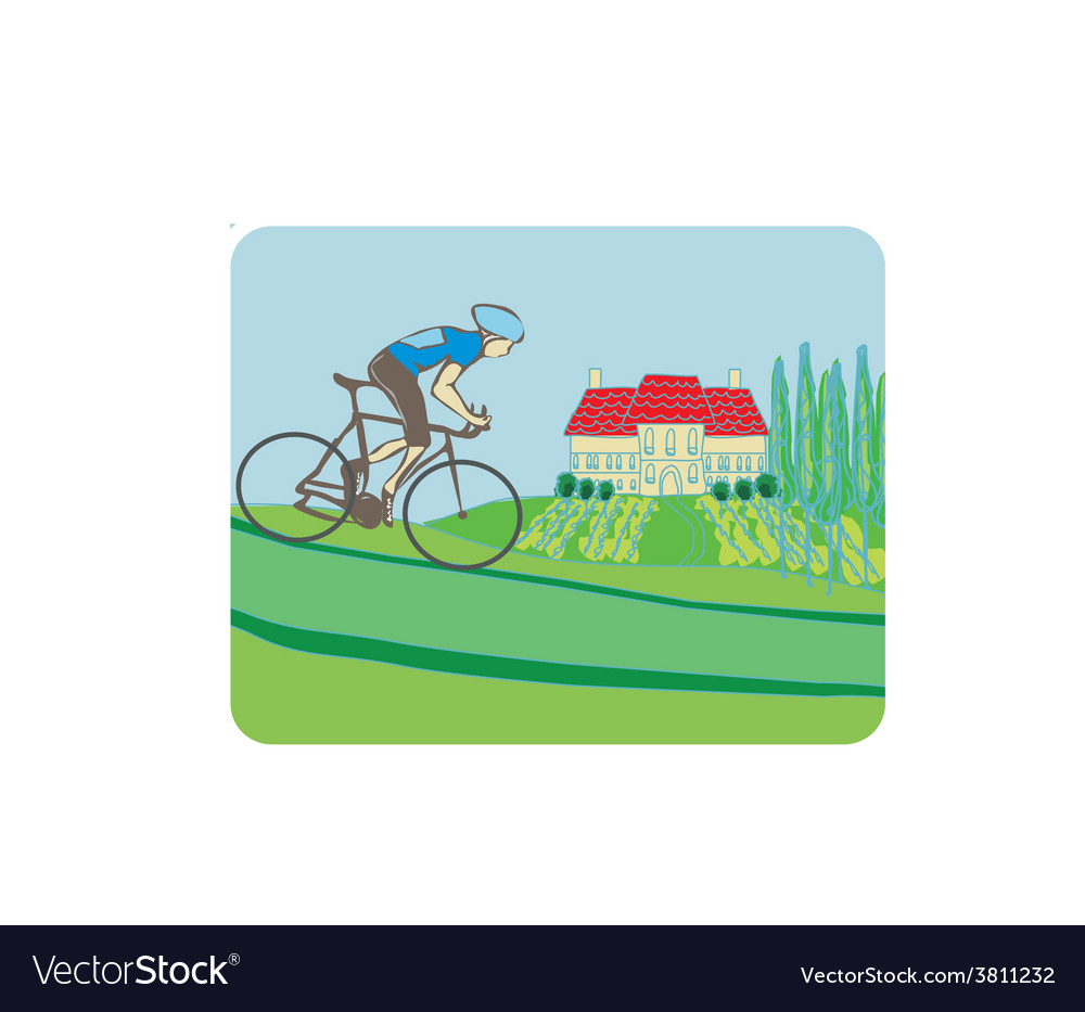 Sport road bike bicycle rider in wild nature vector | Price: 1 Credit (USD $1)