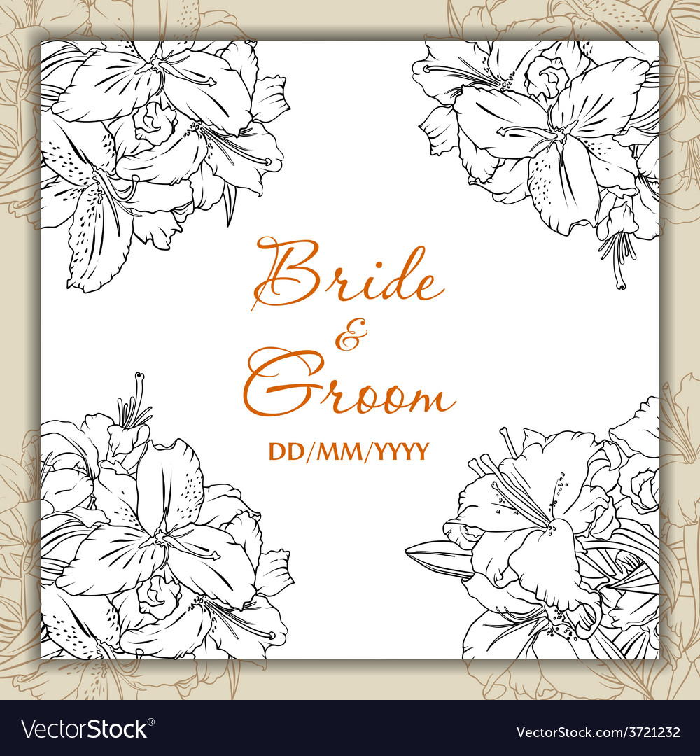 Wedding day card with lilies vector