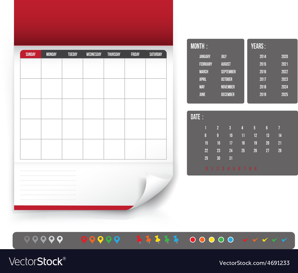 Blank calendar for planning template vector | Price: 1 Credit (USD $1)