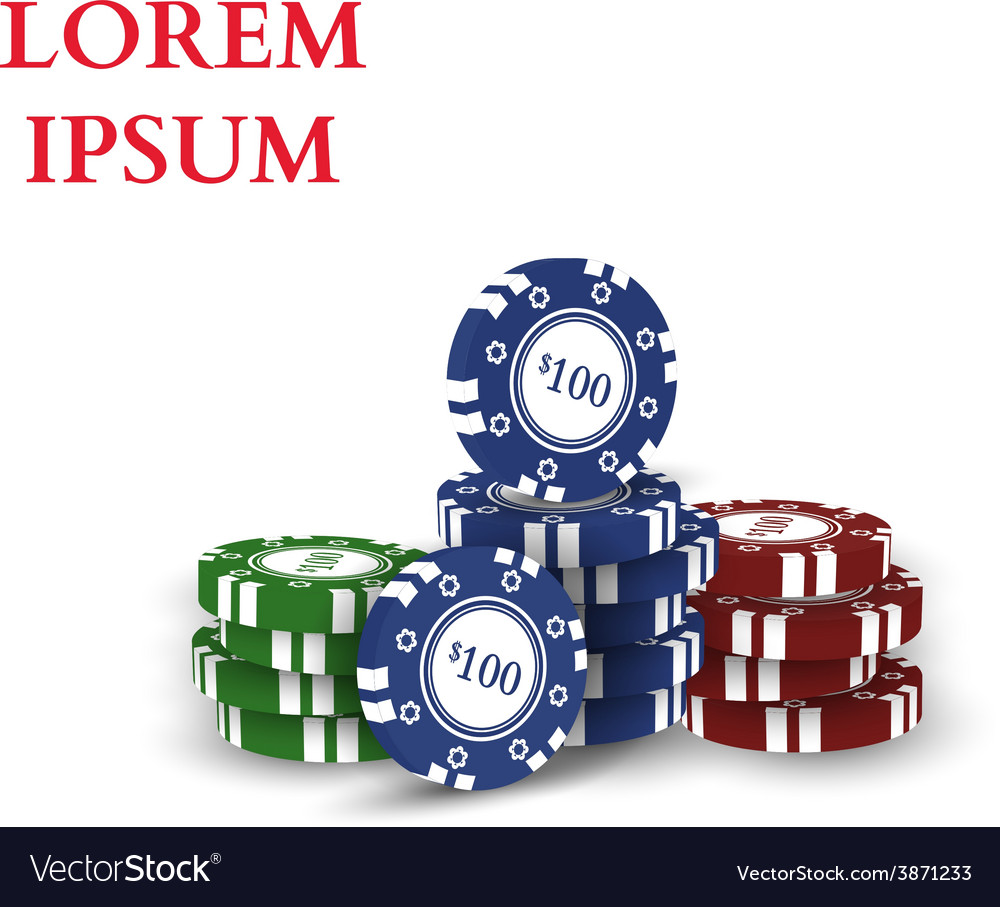 Casino chips isolated on white background vector | Price: 1 Credit (USD $1)