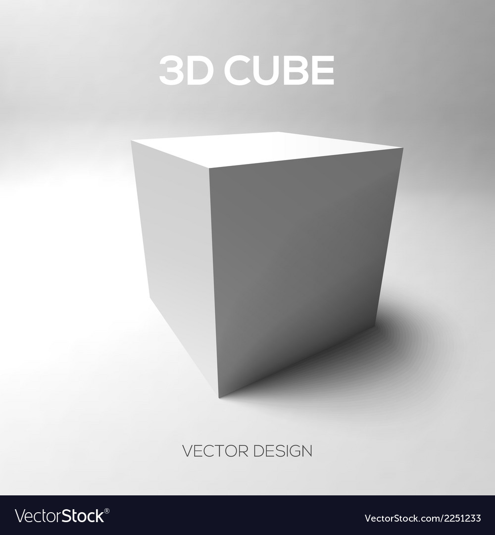 Cube 3d on gray background vector | Price: 1 Credit (USD $1)