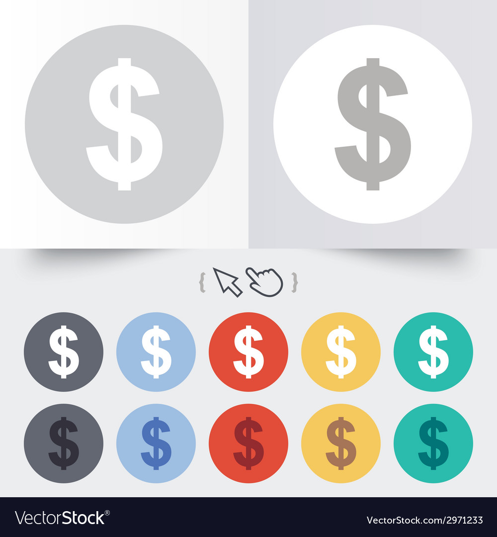 Dollar sign icon usd currency symbol vector | Price: 1 Credit (USD $1)