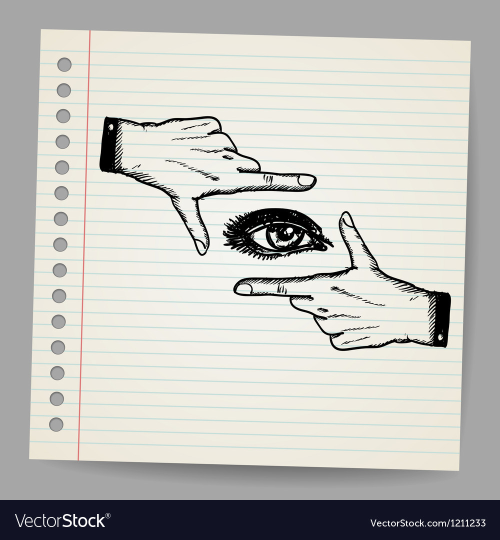 Doodle of two hands and eye being used to frame a vector | Price: 1 Credit (USD $1)