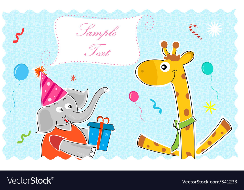 Elephant wishing giraffe happy birthday vector | Price: 1 Credit (USD $1)