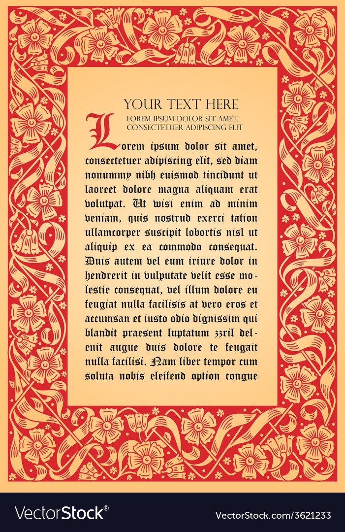 Fairy-tale flower frame retro vintage gothic style vector | Price: 1 Credit (USD $1)