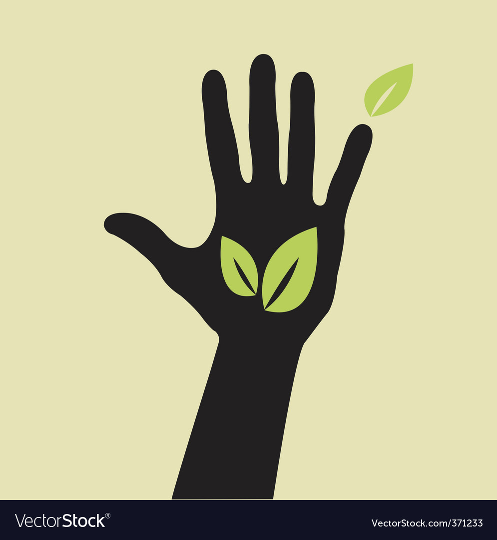 Hand with leaf vector | Price: 1 Credit (USD $1)