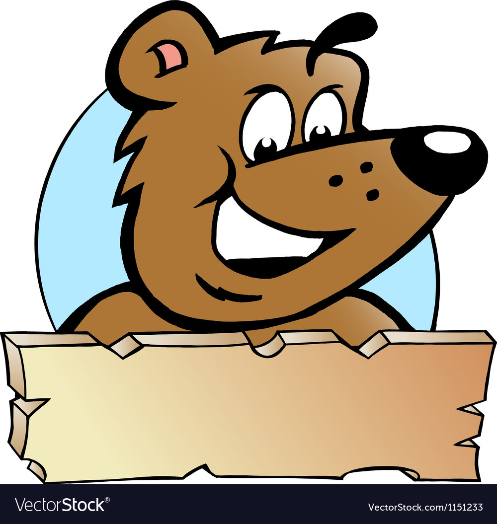 Hand-drawn of an happy proud brown bear - logo vector | Price: 1 Credit (USD $1)