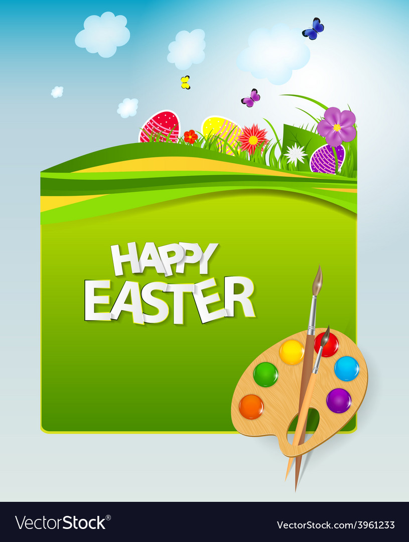 Happy easter spring background vector | Price: 1 Credit (USD $1)