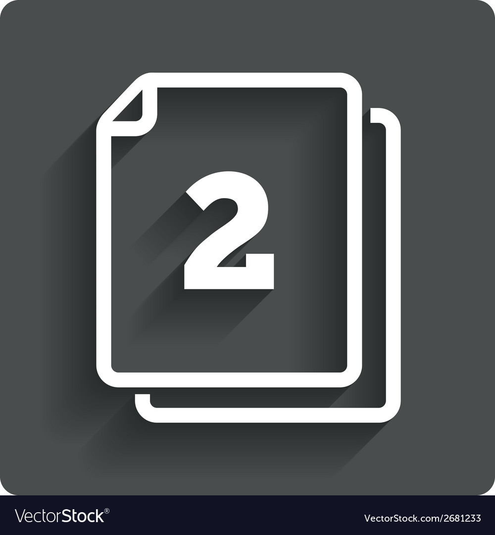 In pack 2 sheets sign icon 2 papers symbol vector | Price: 1 Credit (USD $1)