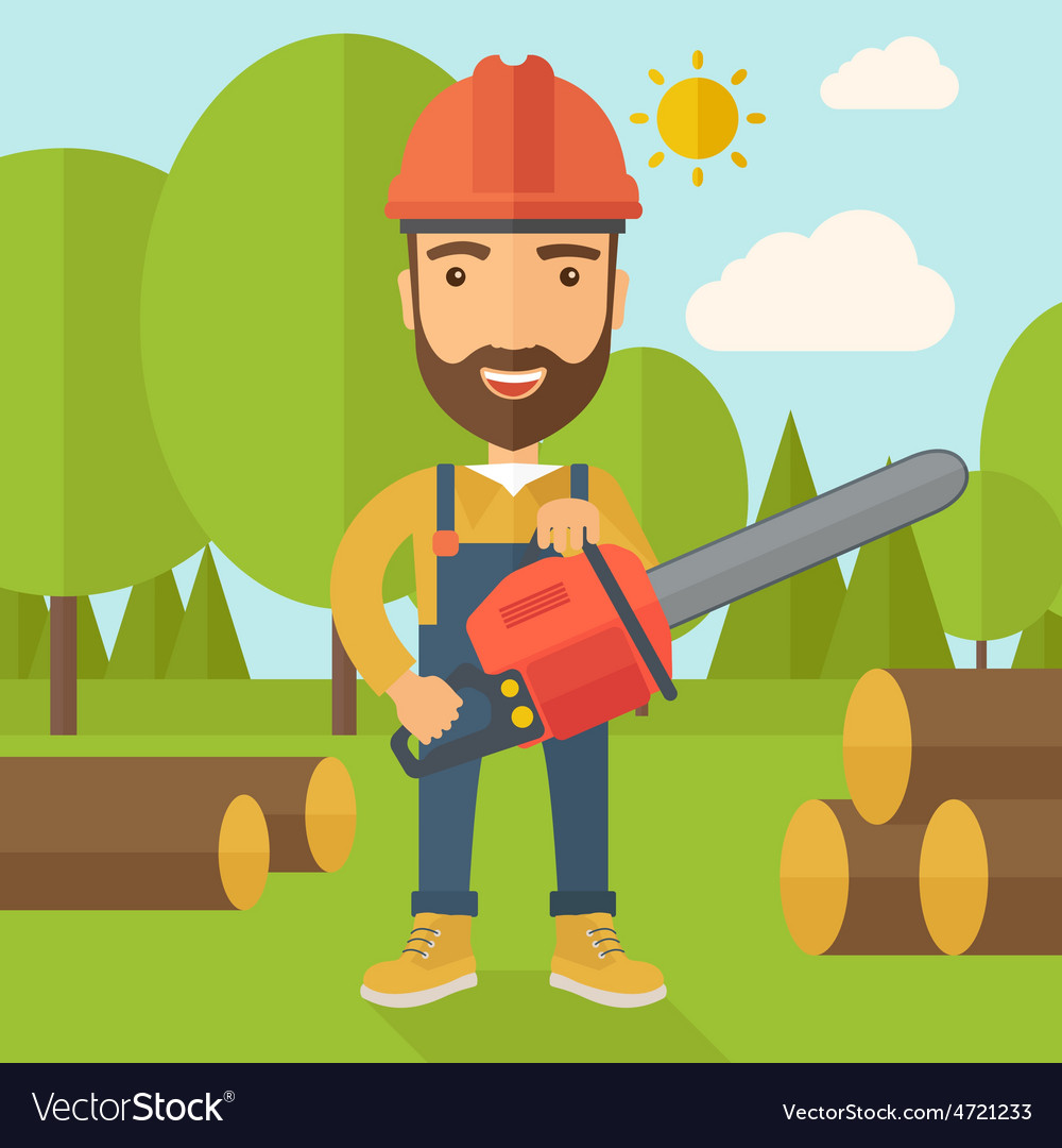 Lumberjack cuts a tree by chainsaw vector | Price: 1 Credit (USD $1)