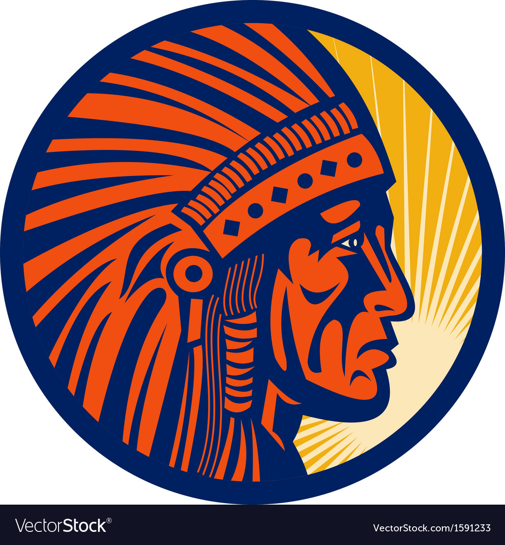 Native american indian chief warrior side vector | Price: 1 Credit (USD $1)