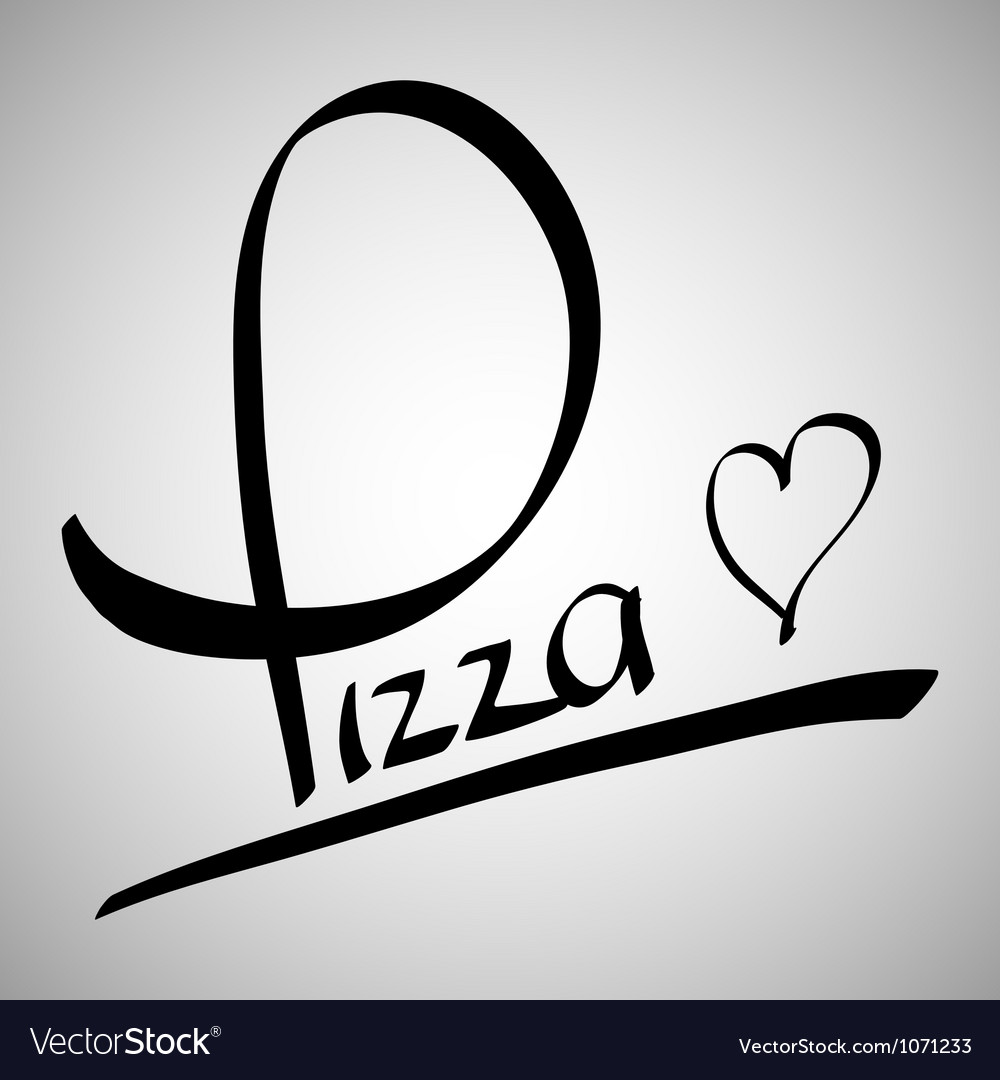 Pizza greetings hand lettering vector | Price: 1 Credit (USD $1)