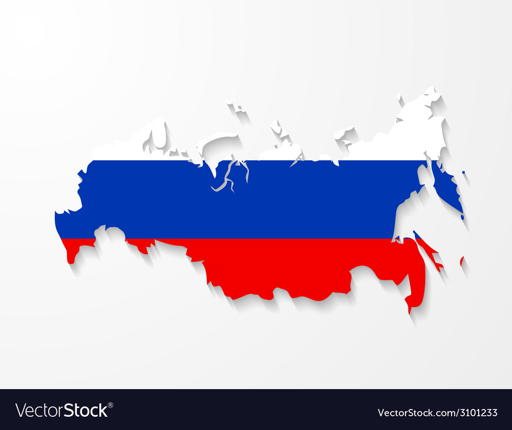 Russia map with shadow effect presentation vector | Price: 1 Credit (USD $1)