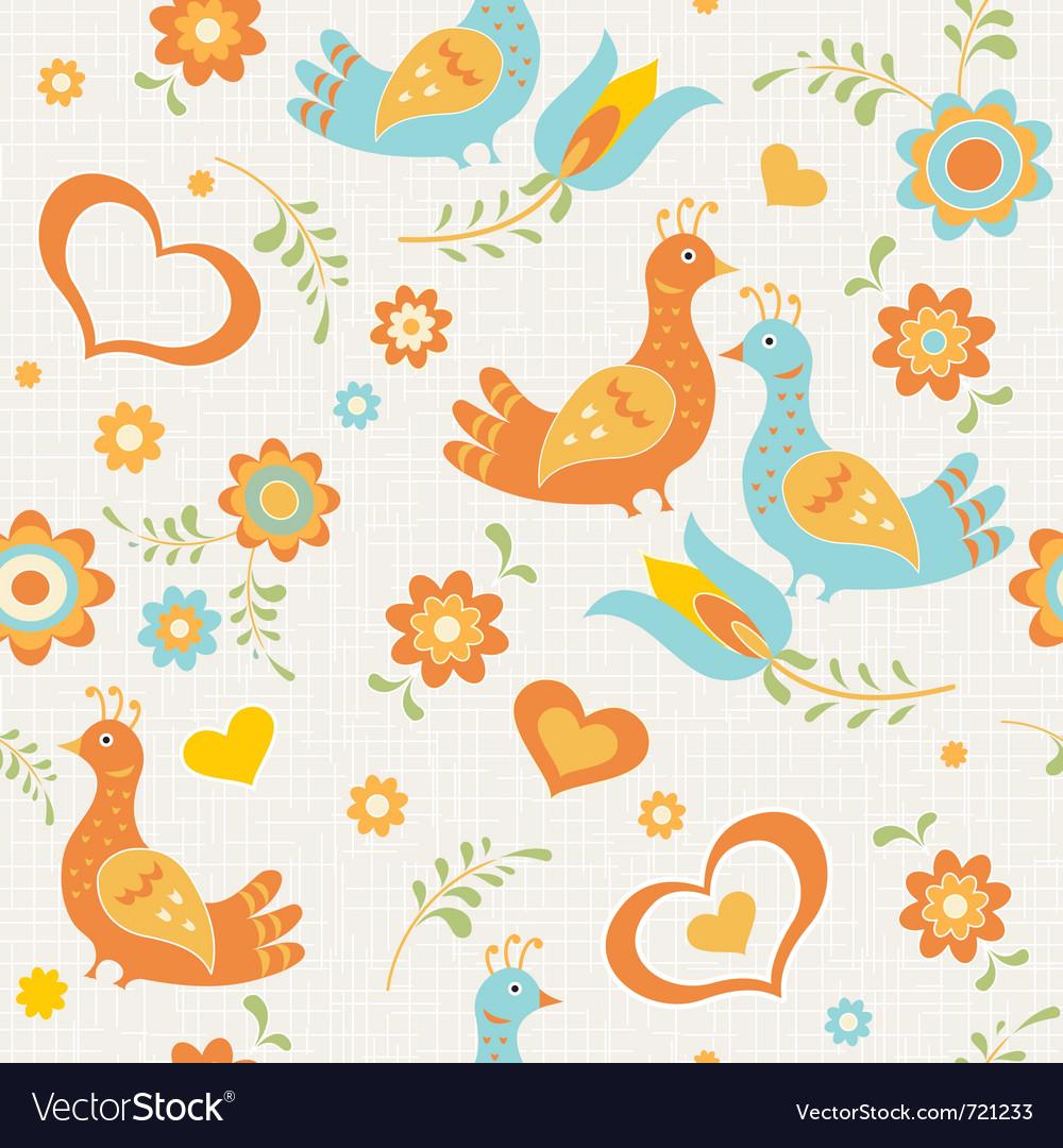 Seamless wallpaper birds vector | Price: 1 Credit (USD $1)