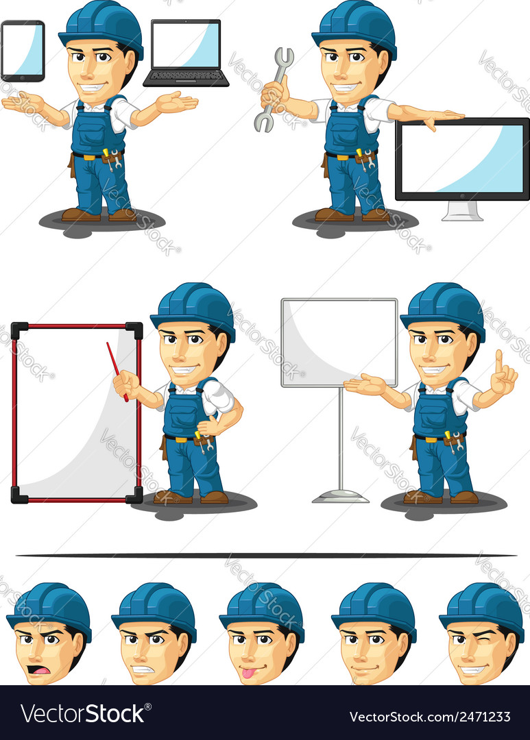 Technician or repairman mascot 16 vector | Price: 1 Credit (USD $1)