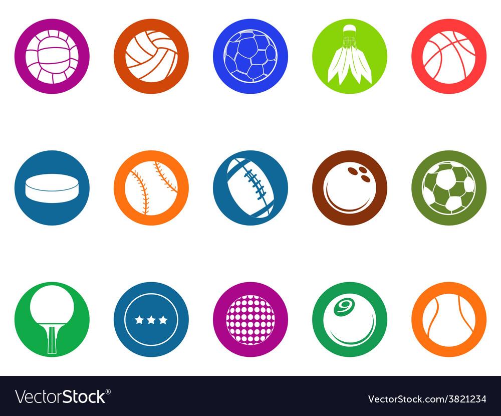 Ball button icons set vector