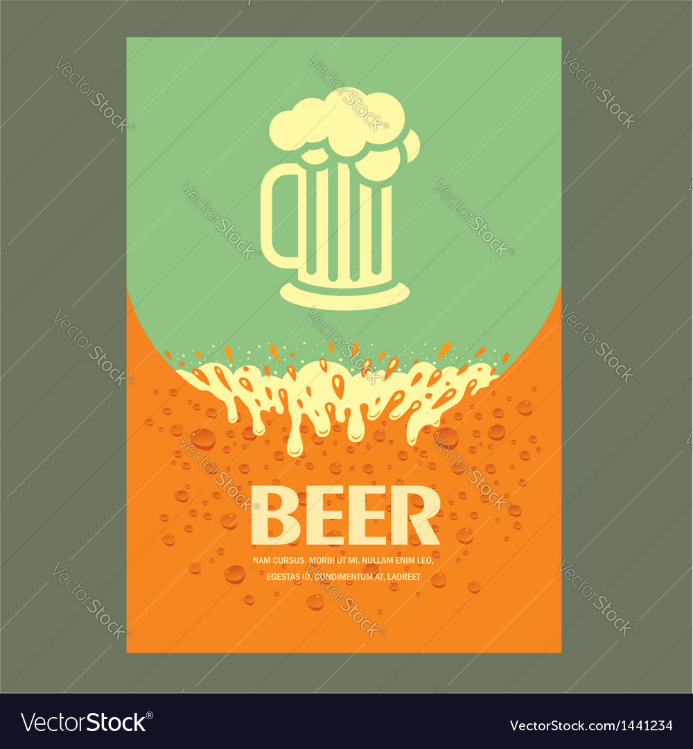 Beer cover card menu splash vector | Price: 1 Credit (USD $1)