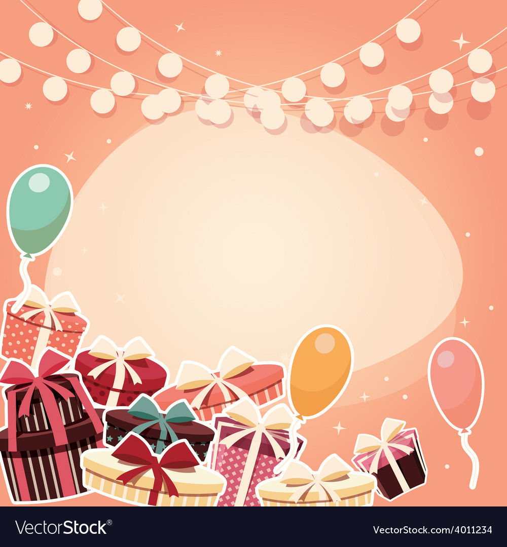 Birthday background with sticker presents balloons vector | Price: 3 Credit (USD $3)