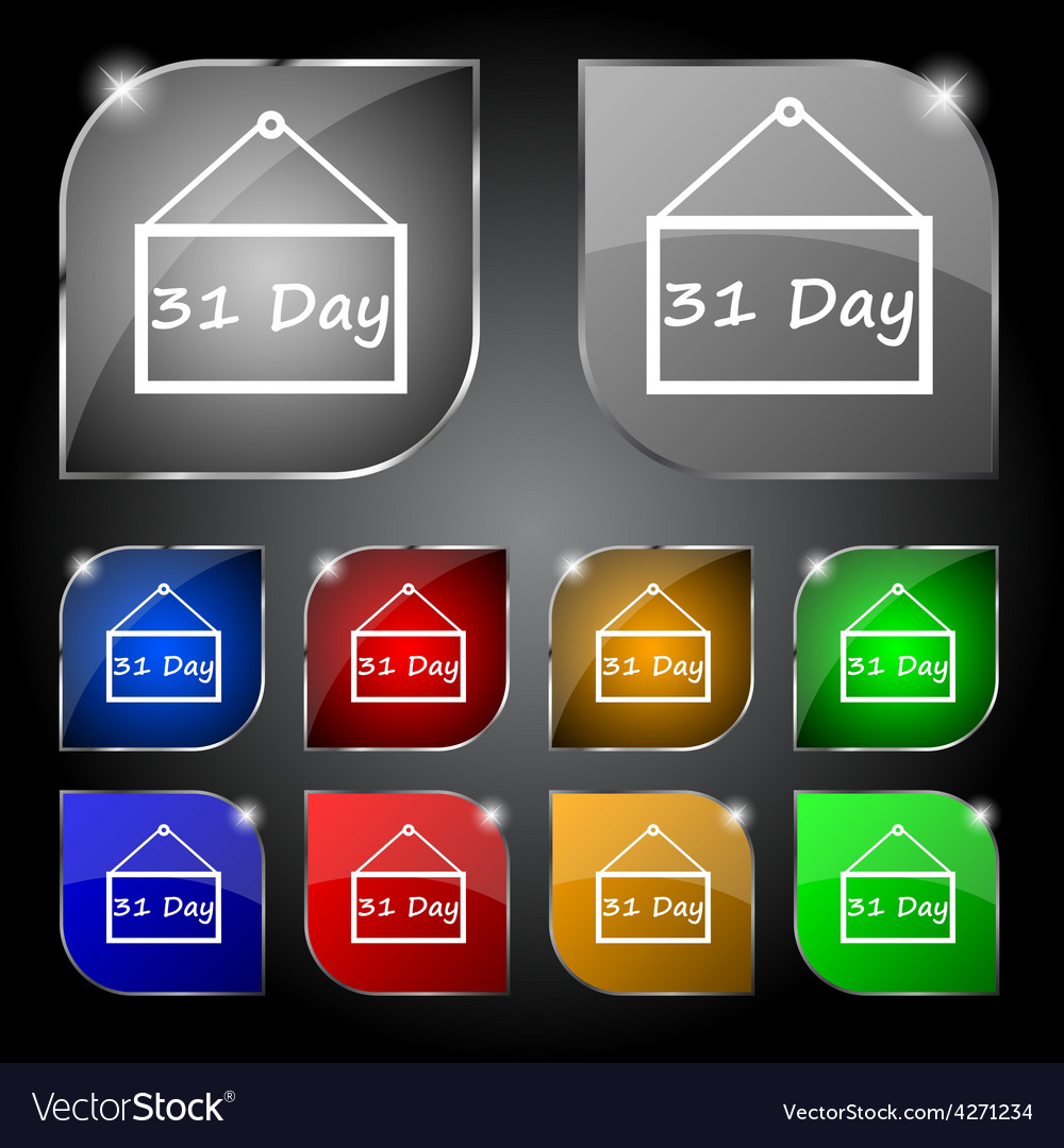 Calendar day 31 days icon sign set of ten colorful vector | Price: 1 Credit (USD $1)