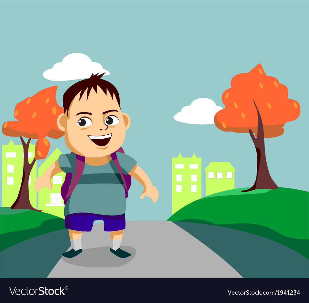 Cute little boy walks along the pathway vector | Price: 1 Credit (USD $1)