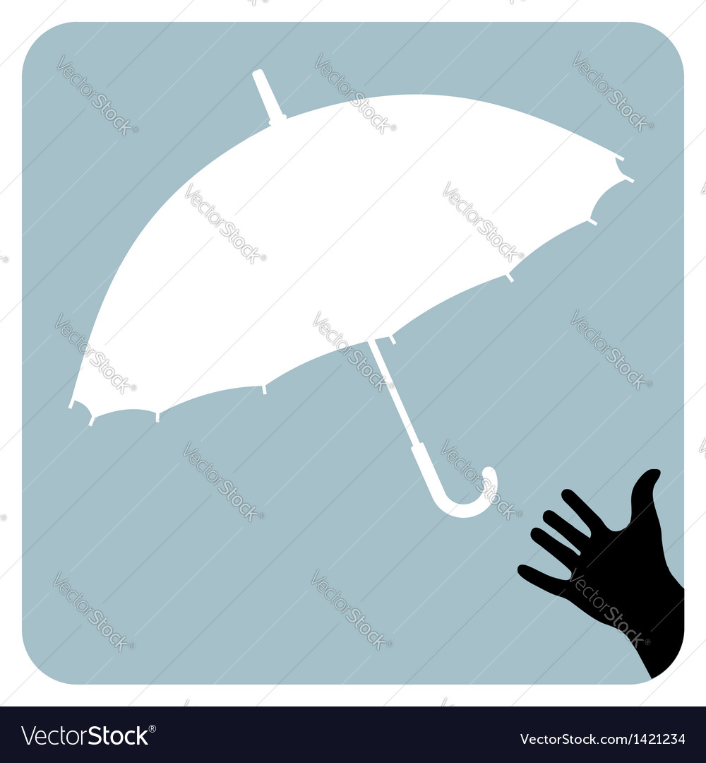 Hand trying to reach an umbrella vector | Price: 1 Credit (USD $1)