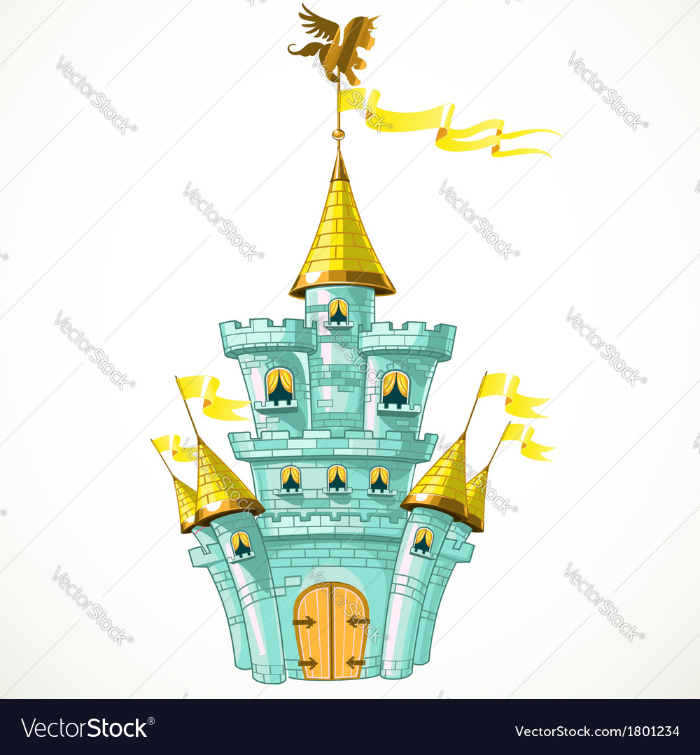 Magical fairytale blue castle with flags vector | Price: 3 Credit (USD $3)