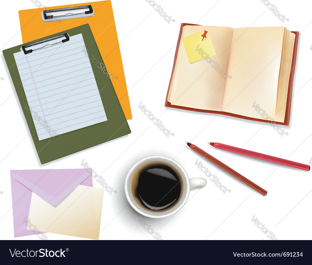 Office supplies and cup of coffee vector | Price: 3 Credit (USD $3)