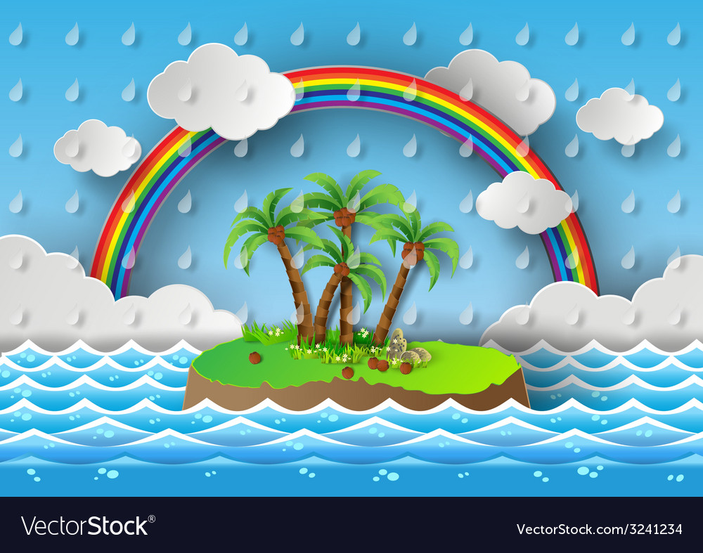 Palm with island and rain vector | Price: 3 Credit (USD $3)