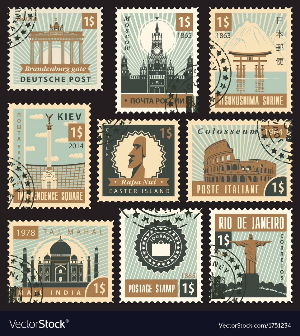 Postage stamps vector | Price: 3 Credit (USD $3)