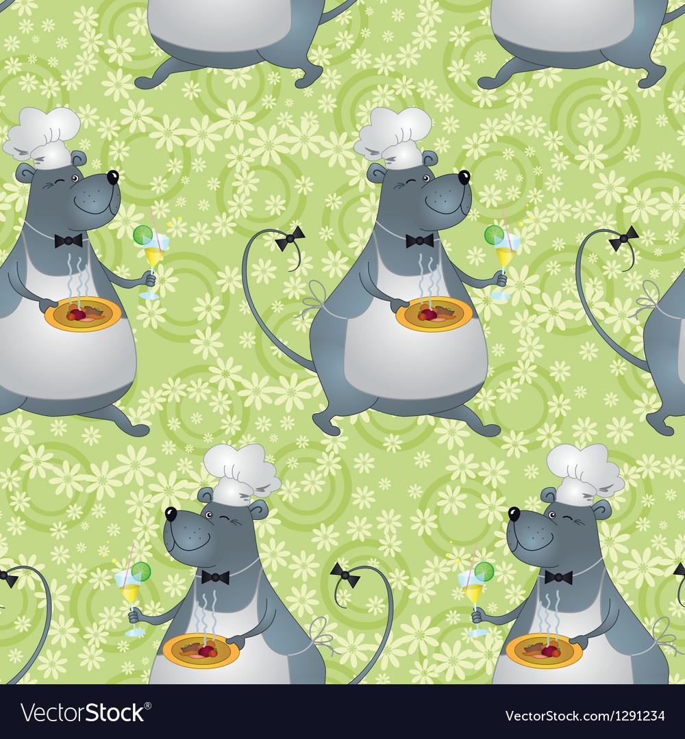 Seamless background cartoon rat cook vector   Price: 1 Credit (USD $1)