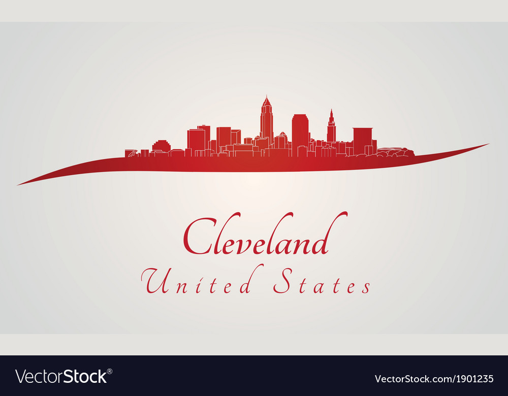 Cleveland skyline in red vector | Price: 1 Credit (USD $1)