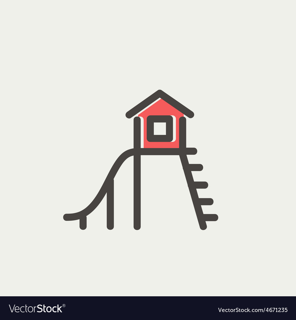 Playhouse with slide thin line icon vector | Price: 1 Credit (USD $1)