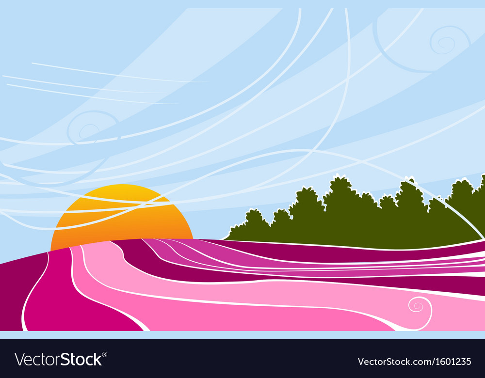 Rising sun and lavender fields vector | Price: 1 Credit (USD $1)