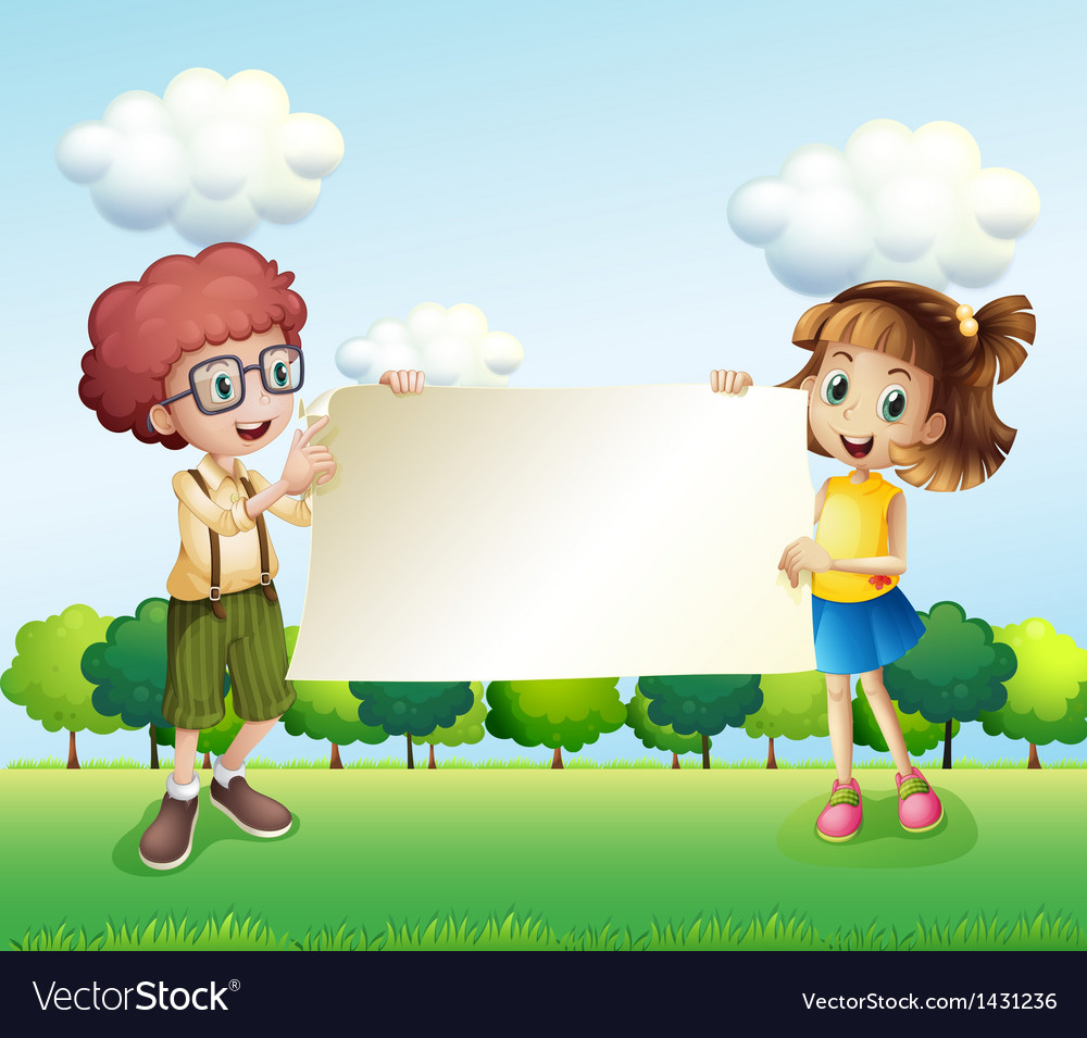 A boy and a girl holding an empty signage vector   Price: 1 Credit (USD $1)