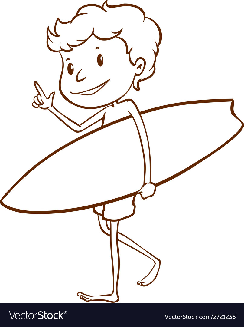 A simple sketch of a male surfer vector | Price: 1 Credit (USD $1)