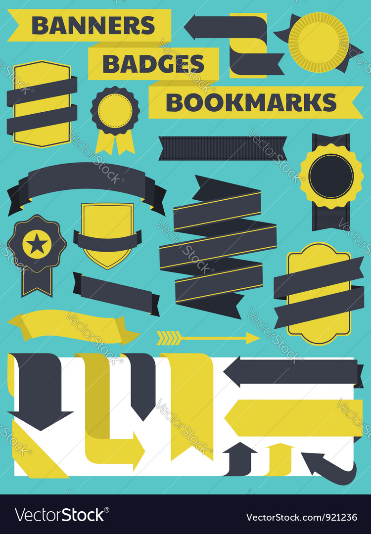 Banners bookmarks badges vector | Price: 1 Credit (USD $1)