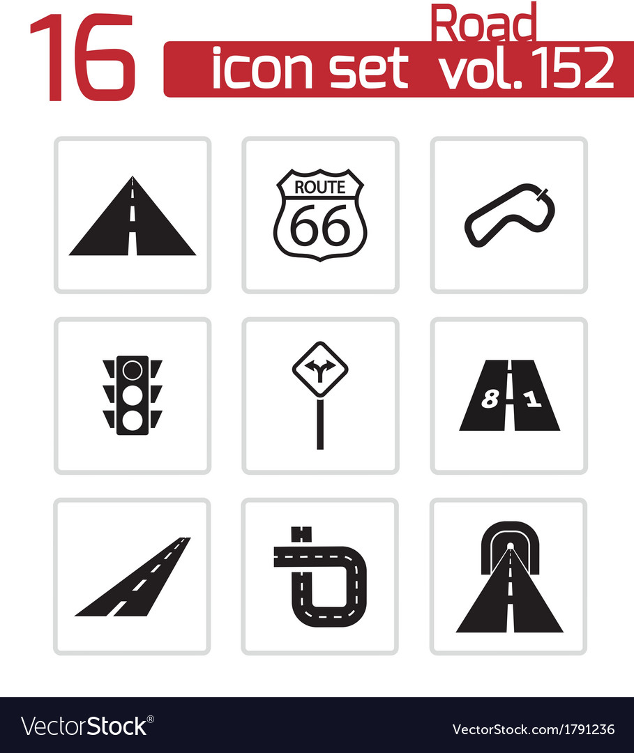 Black road icons set vector | Price: 1 Credit (USD $1)