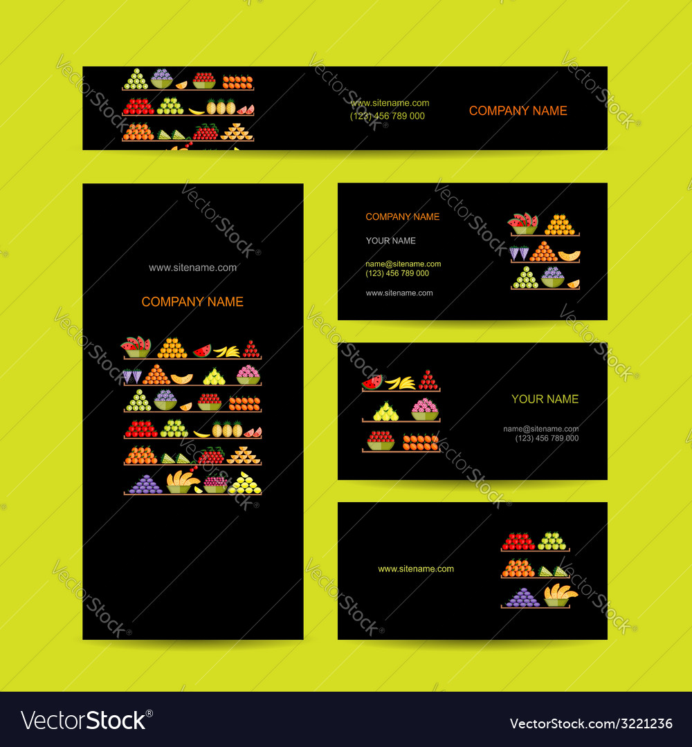 Business cards design shelves with fruits vector   Price: 1 Credit (USD $1)