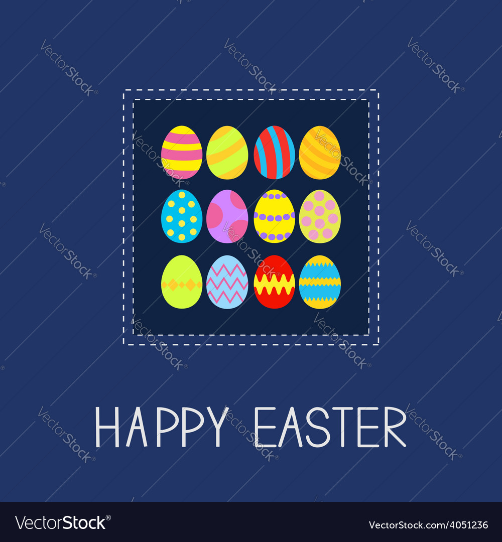 Colored easter egg set dash line frame card flat vector | Price: 1 Credit (USD $1)