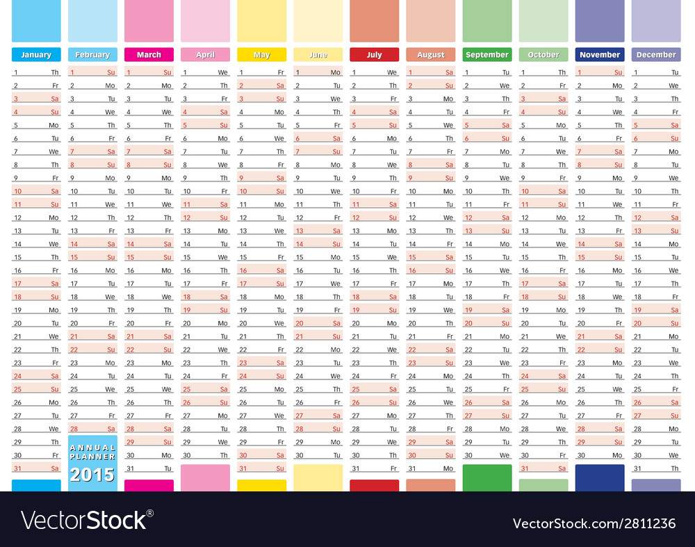 Elegant planner 2015 vector | Price: 1 Credit (USD $1)