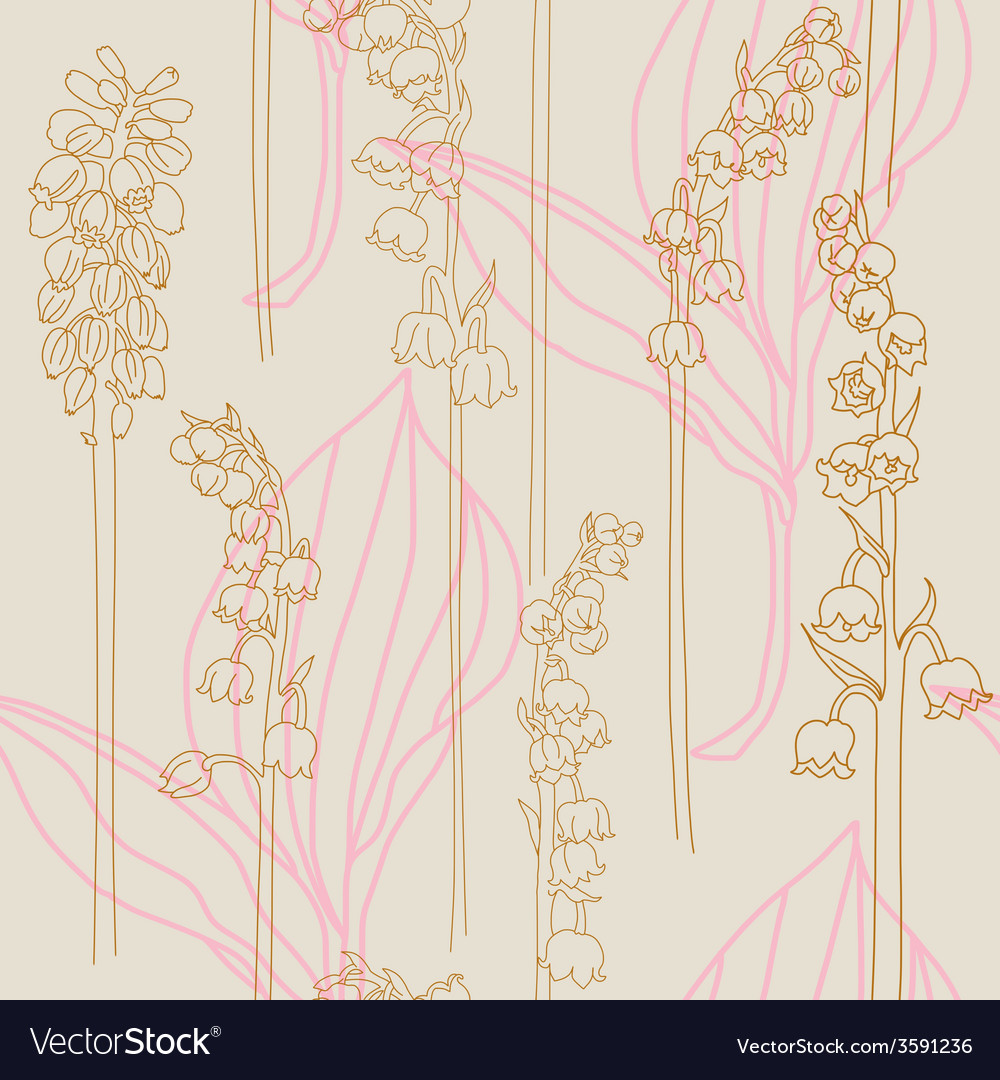 Elegant seamless print with lilies of the valley vector