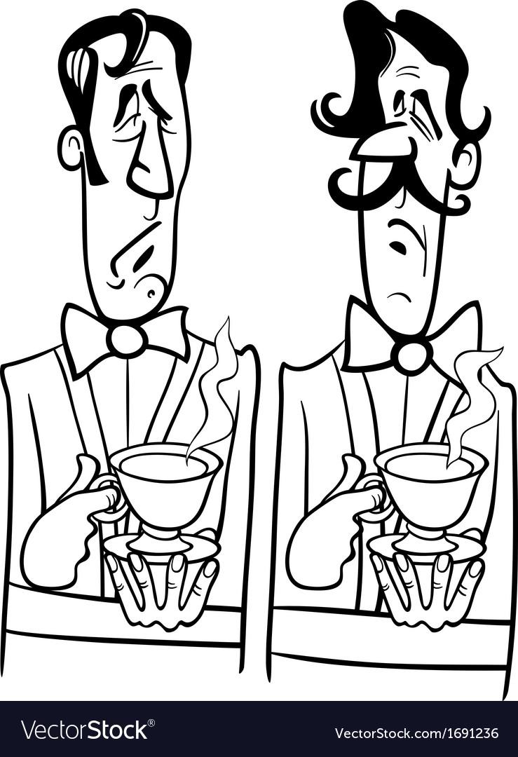 Gentlemen black and white cartoon vector   Price: 1 Credit (USD $1)