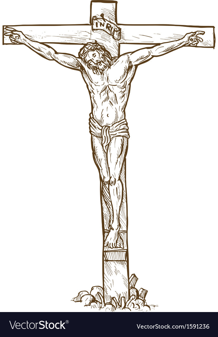 Jesus christ hanging on the cross vector | Price: 1 Credit (USD $1)