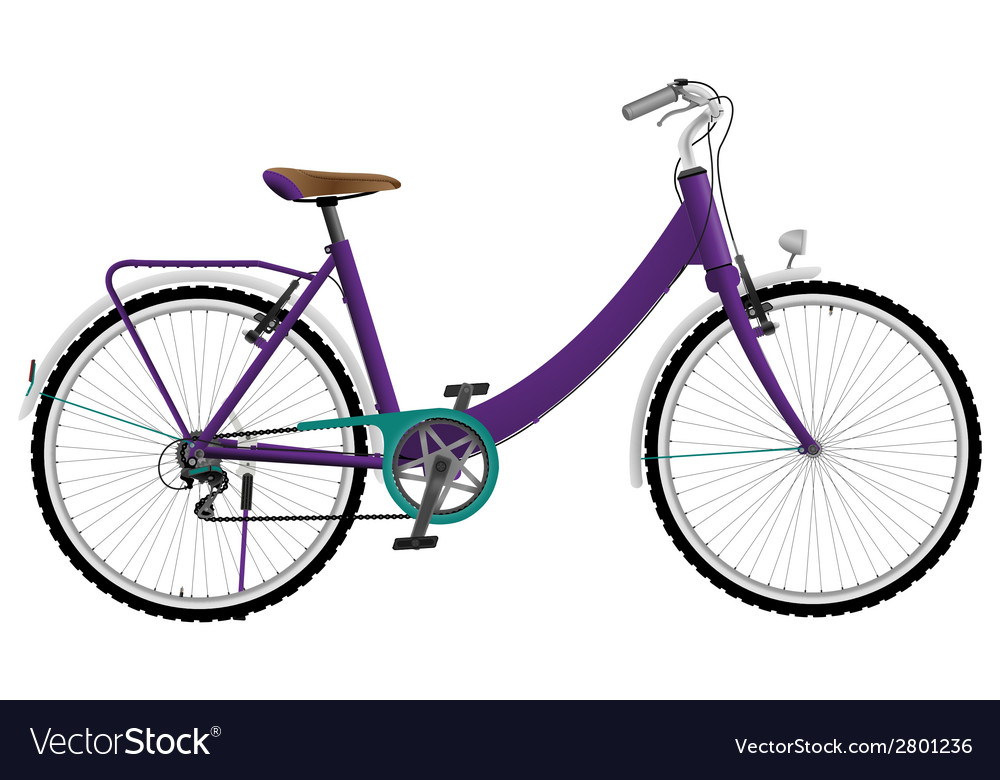 Ladies purple urban sports bike vector | Price: 1 Credit (USD $1)