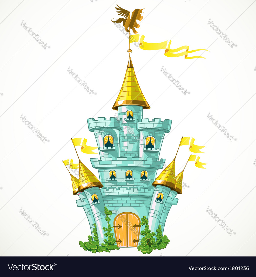 Magical fairytale blue castle with flags and green vector | Price: 3 Credit (USD $3)