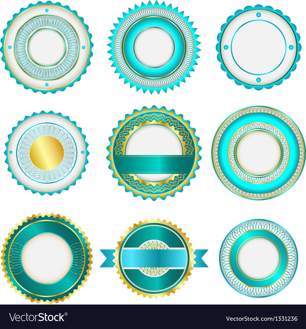 Set of badges labels and stickers in turquoise vector | Price: 1 Credit (USD $1)