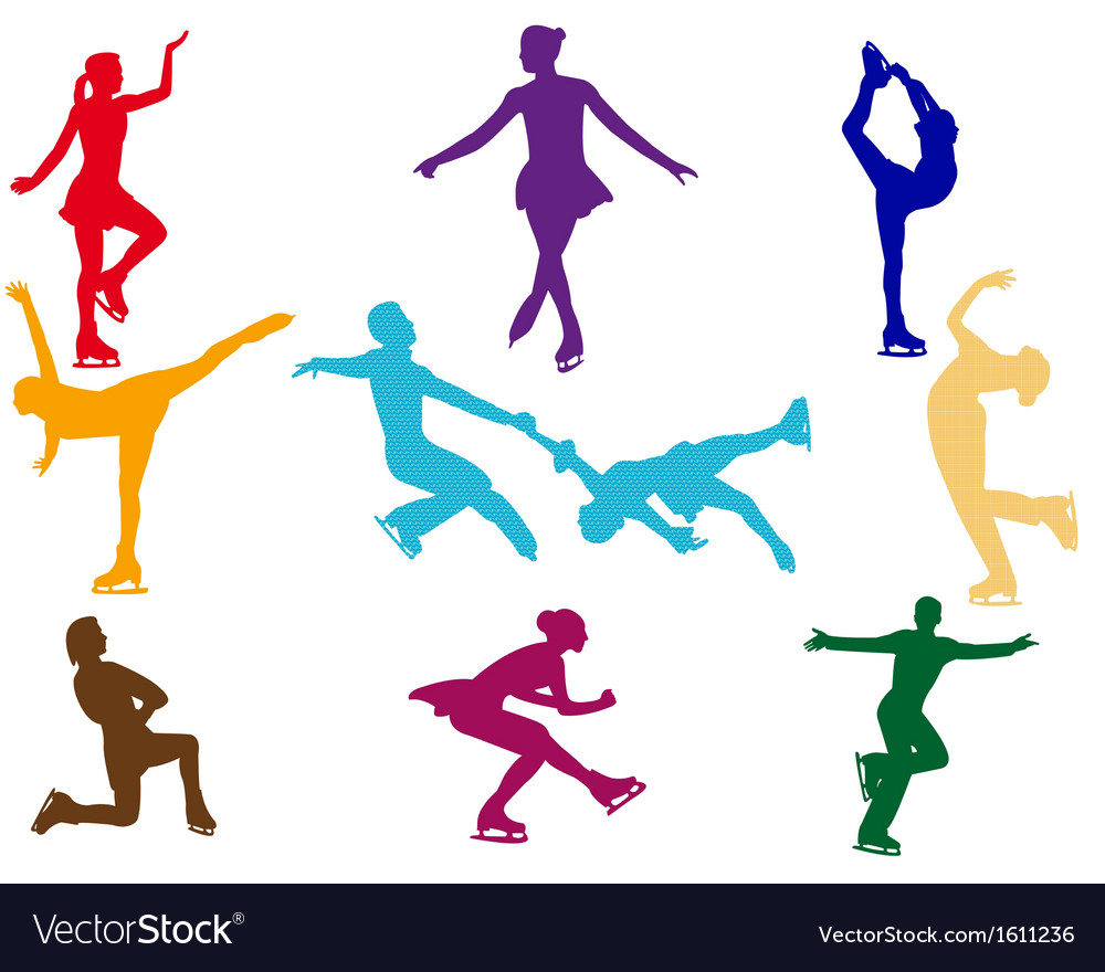 Varicoloured figure skaters vector | Price: 1 Credit (USD $1)