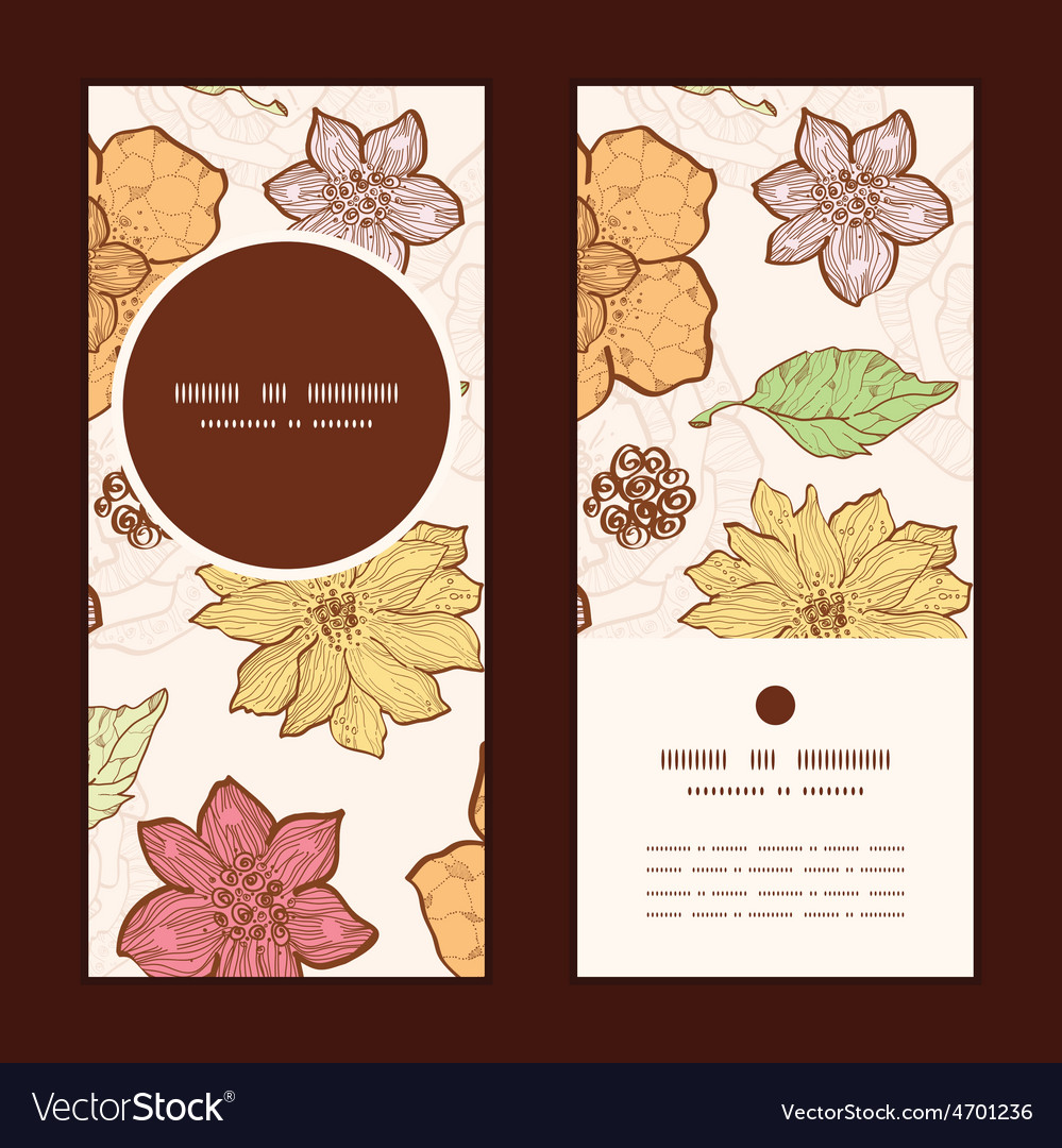 Warm fall lineart flowers vertical round vector | Price: 1 Credit (USD $1)